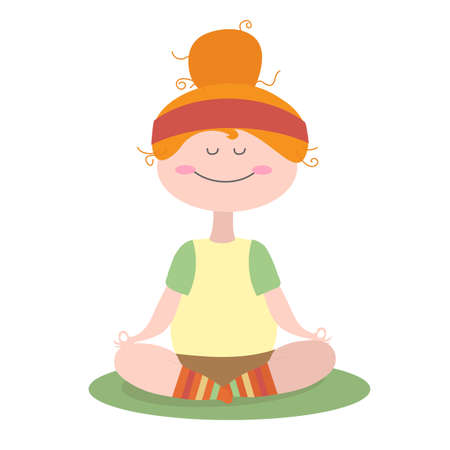 The girl is engaged in yoga at home. Vector illustration.