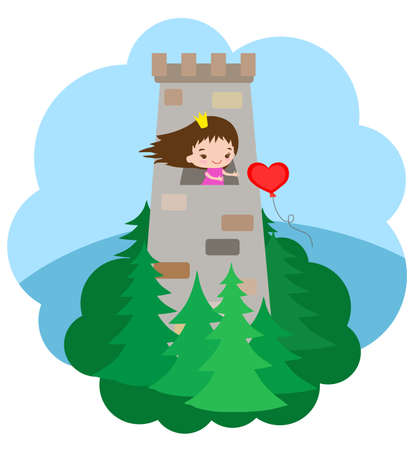 Little princess in the tower and a ball in the shape of a heart. Illustration.