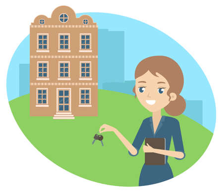 A girl-realtor will find a suitable object. Vector illustration. Vetores