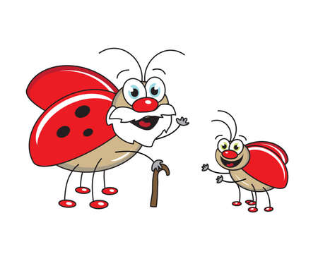 An old bug and a small bug. Vector illustration.