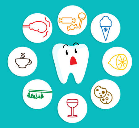 Reaction of teeth to different foods. Vector illustration.