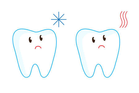 The reaction of the teeth to hot and cold food. Vector illustration.