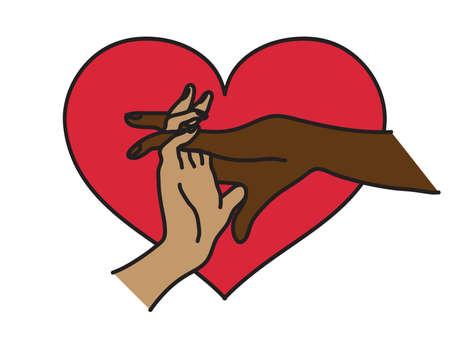 Gran corazón rojo. Ilustración de vector.