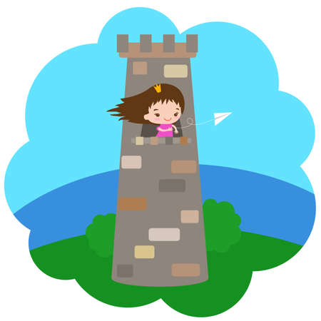 Little princess in the tower on a blue background. Illustration.