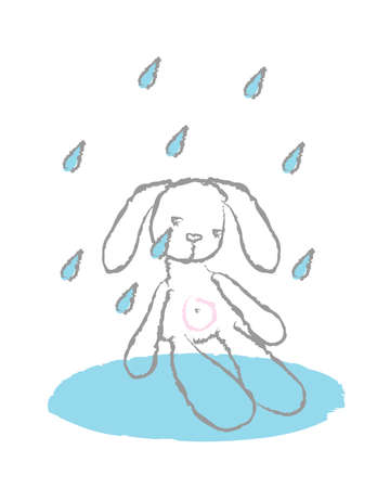 Teddy hare in the rain on a white background. Vector illustration.