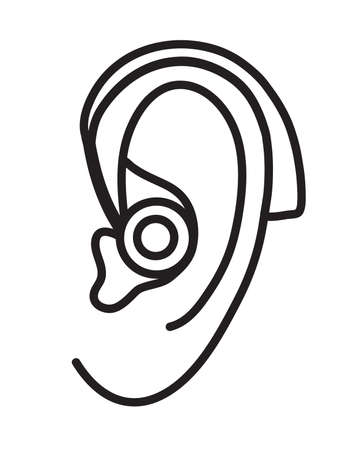 Ear with a hearing aid on a white background. Vector illustration.