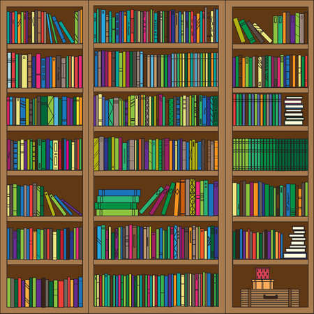 Bookcase with different books. Vector illustration.