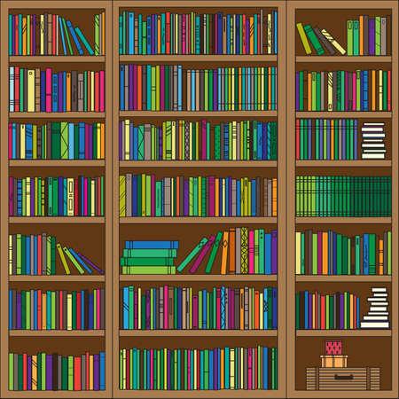 Regał z różnymi książkami. Ilustracja wektorowa.