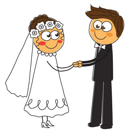 Happy wedding of lovers. Vector illustration. Illustration