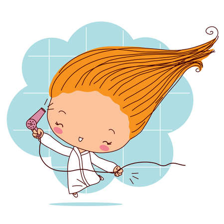 The girl dries hair with a hairdryer. Vector illustration. Ilustração