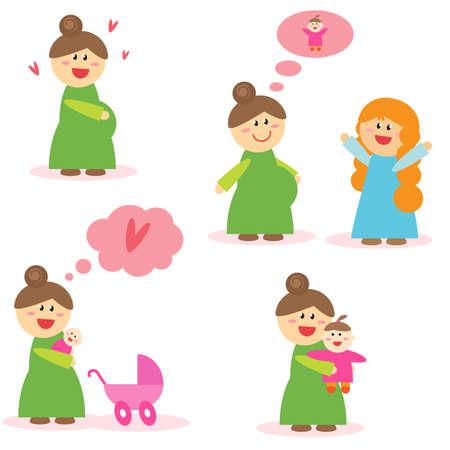 Pregnancy and motherhood. Vector illustration.