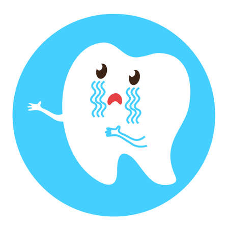 The tooth is asking for help. Vector illustration