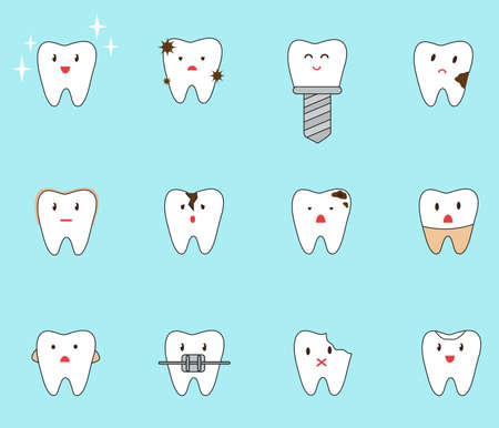 Set of different problems with teeth. Vector illustration  イラスト・ベクター素材