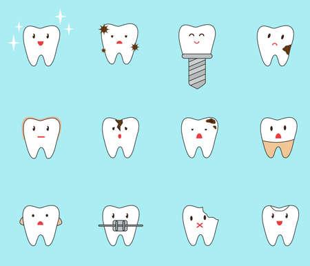 Set of different problems with teeth. Vector illustration Ilustração