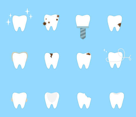 Set of different problems with teeth. Vector illustration