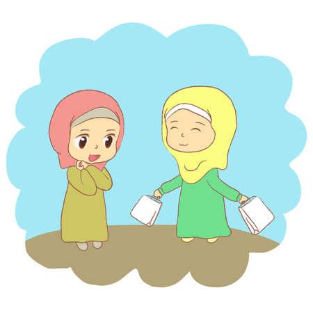 There were two Muslim girls. Vector illustration. Иллюстрация