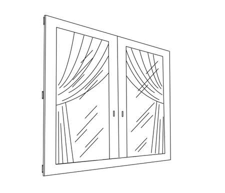 The contour of a large window. Vector illustration.