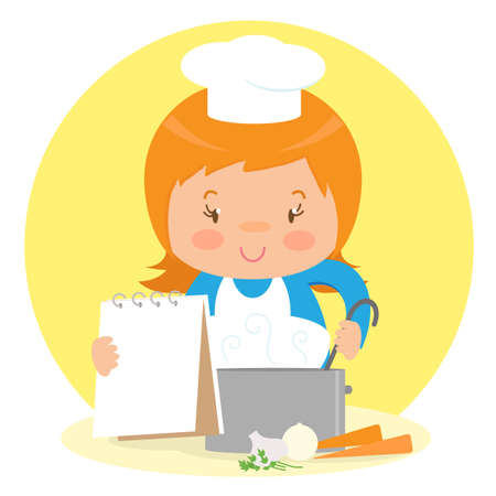 The girl prepares a soup of vegetables. Vector illustration.