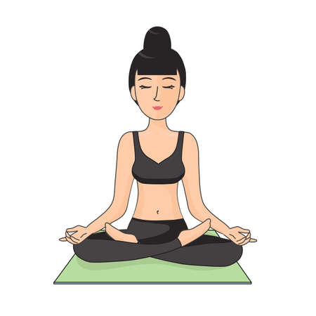 Woman in lotus position. Vector illustration. Ilustração