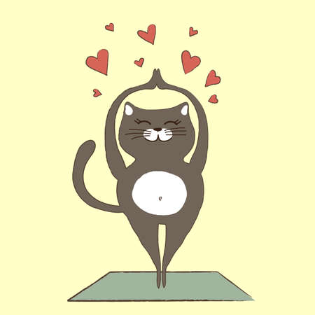 A cat is engaged in yoga. Vector illustration. Illustration