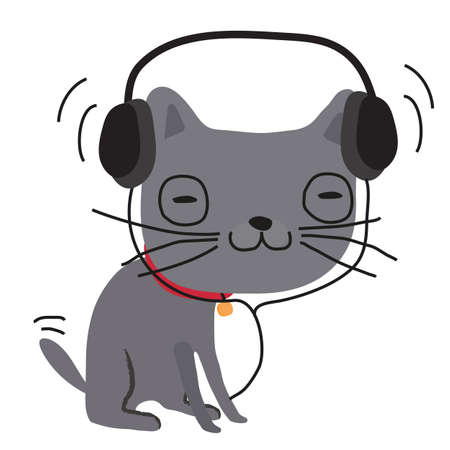 Gray cat in headphones on a white background. Illustration.