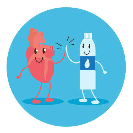 A healthy heart and a bottle of water. Vector illustration. Illustration