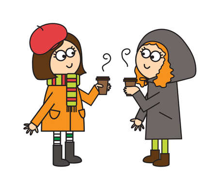 Two girls met and drink coffee. Illustration.