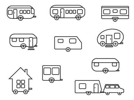Various mobile homes.Vector illustration.