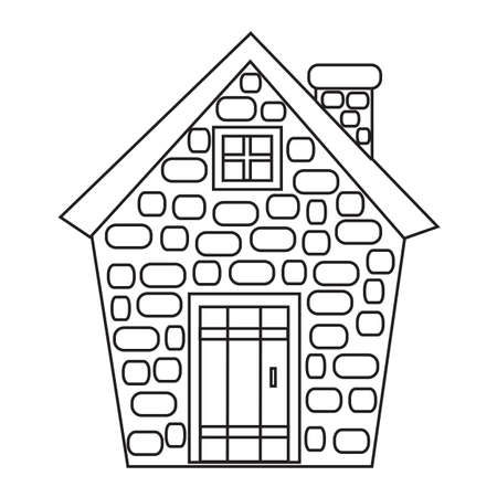 House of stone on a white background. Vector illustration.