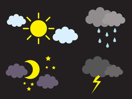 Sun and moon. Cloud and precipitation. Vector illustration.