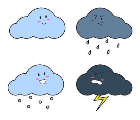 Leuke wolk en boze wolk op een witte achtergrond. Vector illustratie. Vector Illustratie