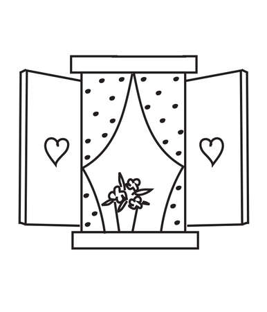 Open window on a white background. Vector illustration.