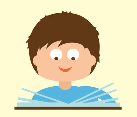 The boy is reading a book. Vector illustration.