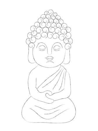Little Buddha in the lotus position. Illustration. 写真素材