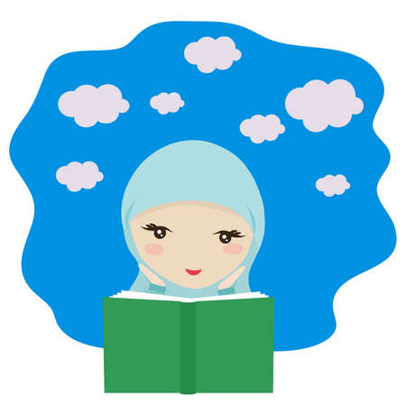 Muslim girl is reading a book. Vector illustration.