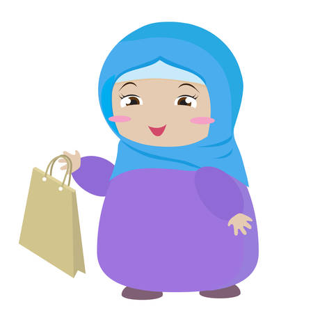 A cute muslim girl is holding a paper shopping bag. Vector illustration.