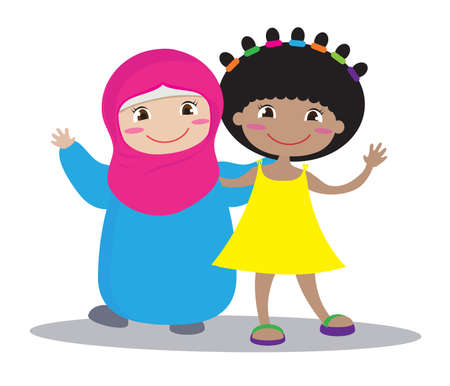Two different girlfriends together on a white background. Vector illustration. Çizim