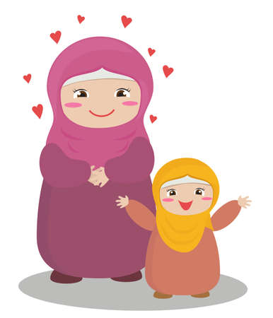 A cute Muslim woman and her daughter. Vector illustration. Illustration