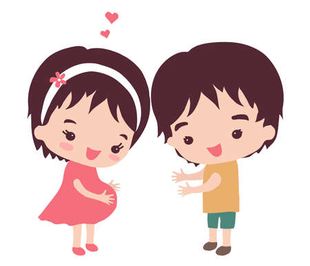 A pregnant woman and her husband on a white background. Vector illustration.  イラスト・ベクター素材
