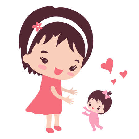 Young mother and her little daughter. The first steps. Vector illustration. Ilustração