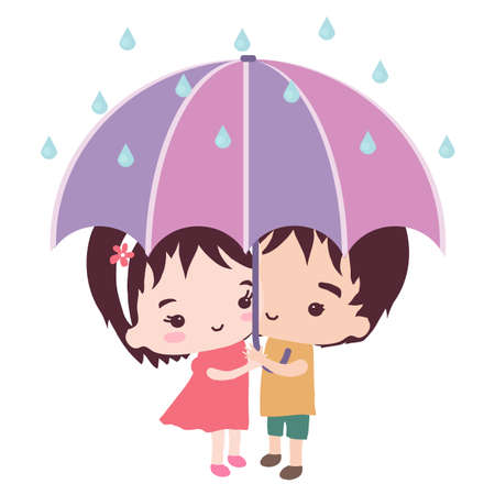 Young couple under an umbrella. Illustration.