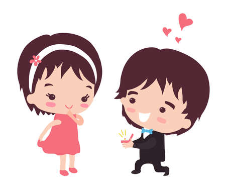 The guy makes the girl a marriage proposal. Vector illustration. Illustration