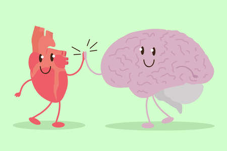 Brain and heart together. Vector illustration.