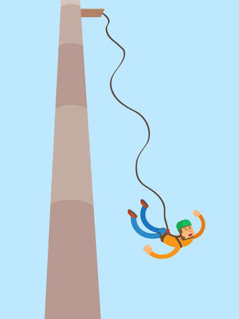 Jump with a rope. Vector illustration.
