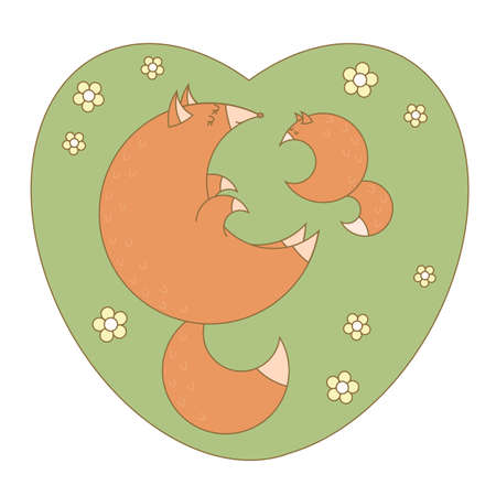Big fox and little fox together. Vector illustration.