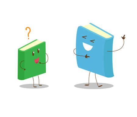 Grand livre et petit livre sur fond blanc. Illustration vectorielle.