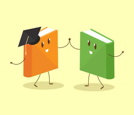 Il libro e il laureato ballano su uno sfondo giallo. Illustrazione vettoriale.