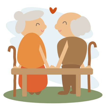 Cute elderly couple sitting on a bench. Illustration.
