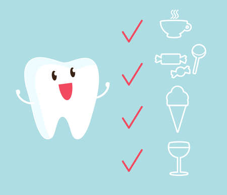 Cute tooth and reaction to various stimuli. Illustration. Çizim