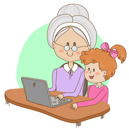 Granddaughter teaches her grandmother to handle a computer. Illustration.